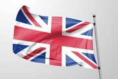 Bandiera isolata del Regno Unito che ondeggia il tessuto realistico di 3d Regno Unito Immagini Stock