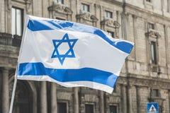 Bandiera israeliana alla parata di giorno di liberazione Fotografie Stock