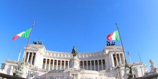 Bandiera italiana all'altare della patria, Roma Fotografie Stock Libere da Diritti
