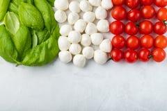 Bandiera italiana fatta con la mozzarella ed il basilico del pomodoro Il concetto di cucina italiana su un fondo leggero Vista su fotografia stock