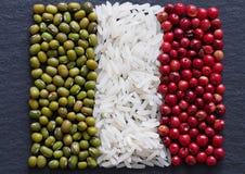 Bandiera italiana, fatta dei condimenti Immagine Stock