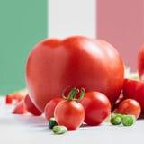 Bandiera italiana tradizionale con i pomodori immagini stock libere da diritti