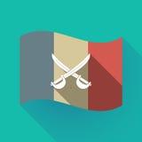 Bandiera lunga della Francia dell'ombra con due spade attraversate Fotografie Stock Libere da Diritti