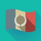 Bandiera lunga della Francia dell'ombra con un segno della corona dell'alloro Immagine Stock