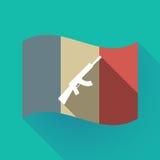 Bandiera lunga della Francia dell'ombra con un segno della mitragliatrice Fotografie Stock