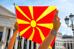 Bandiera macedone Fotografie Stock