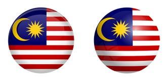 Bandiera malese sotto il bottone della cupola 3d e sulla sfera/palla lucide illustrazione di stock
