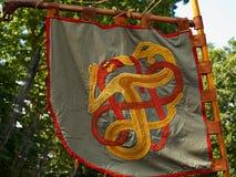 Bandiera medievale dell'insegna del cavaliere di Viking Fotografia Stock