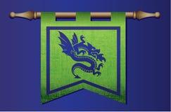Bandiera medievale con l'emblema del drago Fotografia Stock