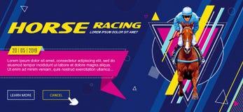 bandiera Modello universale per un sito Web con testo, bottoni Puleggia tenditrice sul cavallo Cavallo Racing hippodrome racetrac immagine stock libera da diritti
