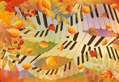 Bandiera musicale di autunno Fotografia Stock
