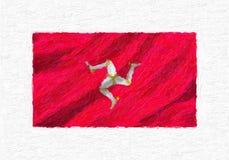 Bandiera nazionale d'ondeggiamento dipinta a mano dell'Isola di Man, isolato della pittura ad olio Fotografia Stock