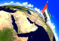 Bandiera nazionale degli Emirati Arabi Uniti che segna la posizione del paese sulla mappa di mondo rappresentazione 3d Fotografia Stock