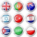 Bandiera nazionale del bottone del metallo Immagine Stock Libera da Diritti