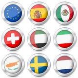 Bandiera nazionale del bottone del metallo Fotografia Stock