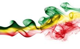 Bandiera nazionale del fumo dell'Etiopia Rasta fotografia stock libera da diritti