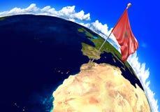 Bandiera nazionale del Marocco che segna la posizione del paese sulla mappa di mondo Fotografia Stock