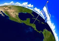 Bandiera nazionale dell'Honduras che segna la posizione del paese sulla mappa di mondo 3D rappresentazione, parti di questa immag Immagini Stock Libere da Diritti
