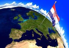 Bandiera nazionale della Croazia che segna la posizione del paese sulla mappa di mondo rappresentazione 3d Fotografia Stock Libera da Diritti