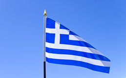 Bandiera nazionale della Grecia sull'asta della bandiera Fotografia Stock