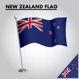 Bandiera nazionale della bandiera della NUOVA ZELANDA della NUOVA ZELANDA su un palo illustrazione di stock