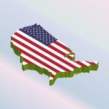 Bandiera nazionale isometrica di U.S.A. Fotografie Stock Libere da Diritti