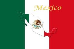 Bandiera nazionale messicana con Eagle Coat Of Arms, testo ed il messicano Immagini Stock