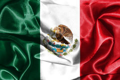 Bandiera nazionale messicana con la rappresentazione di Eagle Coat Of Arms 3D Fotografie Stock