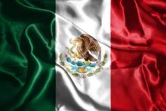 Bandiera nazionale messicana con la rappresentazione di Eagle Coat Of Arms 3D Immagine Stock