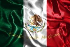 Bandiera nazionale messicana con la rappresentazione di Eagle Coat Of Arms 3D Immagini Stock