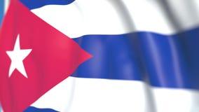 Bandiera nazionale volante del primo piano di Cuba, animazione loopable 3D illustrazione di stock