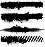 Bandiera nera di struttura dell'inchiostro Immagini Stock Libere da Diritti