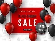 Bandiera nera di vendita di venerdì i palloni lucidi realistici rossi e neri di 3d con testo nel frame e nello sconto etichettano royalty illustrazione gratis