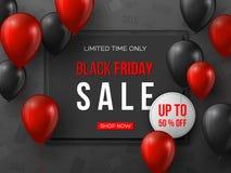 Bandiera nera di vendita di venerdì i palloni lucidi realistici rossi e neri di 3d con testo nel frame e nello sconto etichettano illustrazione vettoriale