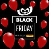 Bandiera nera di vendita di venerdì Palloni realistici con il contenitore di regalo su fondo nero illustrazione vettoriale