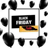 Bandiera nera di vendita di venerdì Palloni realistici su fondo bianco con la pagina quadrata illustrazione di stock
