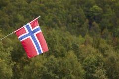 Bandiera norvegese con il fondo verde del paesaggio della foresta La Norvegia sy Fotografie Stock