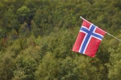 Bandiera norvegese con il fondo verde del paesaggio della foresta La Norvegia sy Fotografia Stock Libera da Diritti