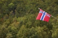 Bandiera norvegese con il fondo verde del paesaggio della foresta La Norvegia sy Fotografia Stock