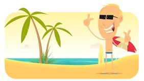 Bandiera o segno di vacanze della spiaggia di estate Fotografie Stock