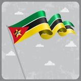 Bandiera ondulata del Mozambico Illustrazione di vettore Fotografie Stock Libere da Diritti