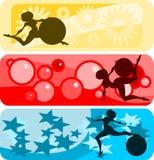 Bandiera orizzontale impostata: ragazza e sfera Immagine Stock