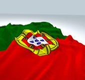 Bandiera portugual d'ondeggiamento Immagini Stock Libere da Diritti