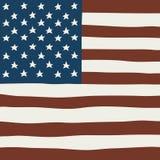 Bandiera quadrata vettore di tiraggio della mano di U.S.A. Fotografia Stock