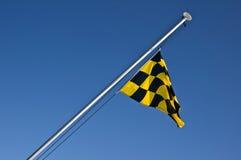 Bandiera a quadretti gialla e nera di rischio della valanga immagine stock libera da diritti