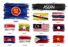 Bandiera realistica della pittura dell'acquerello dell'associazione di ASEAN delle nazioni e dell'appartenenza asiatiche sudorien illustrazione vettoriale