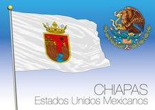 Bandiera regionale del Chiapas, stati messicani uniti, Messico Immagini Stock Libere da Diritti