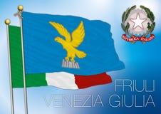Bandiera regionale del Friuli Venezia Giulia, Italia Fotografie Stock Libere da Diritti