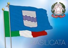 Bandiera regionale della Basilicata, Italia Immagini Stock Libere da Diritti