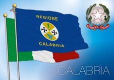 Bandiera regionale della Calabria, Italia Fotografia Stock Libera da Diritti